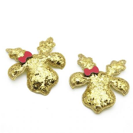5 x 2.5 INCH GOLD REINDEER RUDOLPH XMAS PADDED EMBELLISHMENT PERFECT 4 HEADBANDS HAIR BOWS